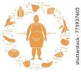 fat woman with healthy food... | Shutterstock .eps vector #775937605