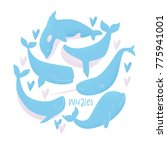 vector card with blue whale ... | Shutterstock .eps vector #775941001