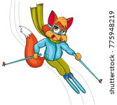 fox skier. cartoon style.... | Shutterstock .eps vector #775948219
