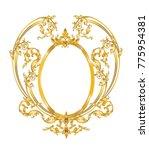 baroque golden oval frame | Shutterstock .eps vector #775954381