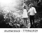 happy couple are walking... | Shutterstock . vector #775961929
