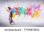 modern street dancer jumping... | Shutterstock . vector #775987831
