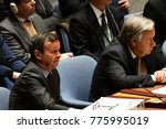 Small photo of NEW YORK CITY - DECEMBER 15 2017: The United Nations Security Council met in special session to debate North Korean Nuclear proliferation. Left, Italy's Sebastiano Cardi & Sec-Gen Antonio Guterres