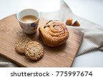 morning coffee with pastry... | Shutterstock . vector #775997674