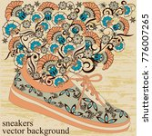 sneakers with a pattern and... | Shutterstock .eps vector #776007265