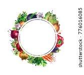 round frame of fresh vegetables ... | Shutterstock . vector #776016085