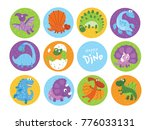 funny cartoon dinosaurs... | Shutterstock .eps vector #776033131