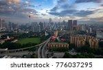 Small photo of Kuala Lumpur, MALAYSIA - January 16, 2016: Sunrise in Kuala Lumpur from Dewan Bahasa Building on Jalan Hang Tuah