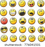 vector emoticons collection  | Shutterstock .eps vector #776041531