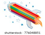 rocket made from pencils on a...   Shutterstock . vector #776048851