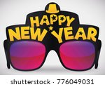 poster with cool party glasses... | Shutterstock .eps vector #776049031