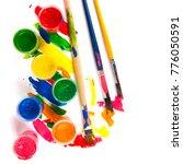 art studio paints  palette   Shutterstock . vector #776050591