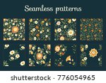 trendy hand drawn set of floral ... | Shutterstock .eps vector #776054965