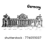 quick sketch old building of... | Shutterstock .eps vector #776055037