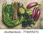 flat lay veriety of green and... | Shutterstock . vector #776055271