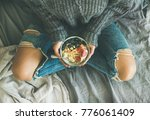 healthy winter breakfast in bed.... | Shutterstock . vector #776061409