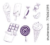 sweet ice cream and candy...   Shutterstock .eps vector #776061595