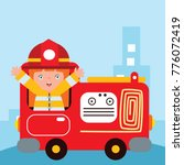 cute little fire fighter in... | Shutterstock .eps vector #776072419