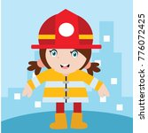 cute little fire fighter in... | Shutterstock .eps vector #776072425