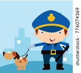 cute little police man in... | Shutterstock .eps vector #776074369