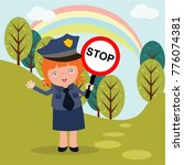 cute little police man in... | Shutterstock .eps vector #776074381