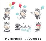 Set Of Funny Cartoon Zebras On...