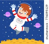 cute little astronaut kid in... | Shutterstock .eps vector #776095129