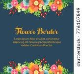 flower border with blue... | Shutterstock .eps vector #776107849