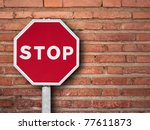 stop sign on a brick wall | Shutterstock . vector #77611873