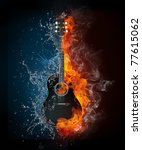 Постер, плакат: Acoustic guitar in fire