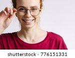 Fashion Redhead Smiling Woman...