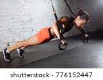women doing push ups training... | Shutterstock . vector #776152447