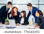 people working on project in... | Shutterstock . vector #776163151