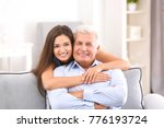 mature man with daughter in... | Shutterstock . vector #776193724