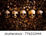 skulls and bones in paris... | Shutterstock . vector #776212444