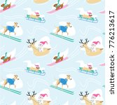 seamless winter pattern with... | Shutterstock .eps vector #776213617