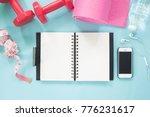 blank notebook and smartphone... | Shutterstock . vector #776231617