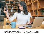 young beautiful girl blogger... | Shutterstock . vector #776236681