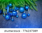 christmas tree and blue balls... | Shutterstock . vector #776237389