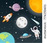 space with moon  sun  rocket ... | Shutterstock .eps vector #776250601
