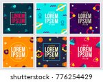 Memphis Style Covers Design with Cute Vector Flat 3D Elements on Dark and Light Background   Shutterstock vector #776254429