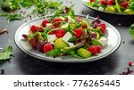 fresh tasty raspberry salad... | Shutterstock . vector #776265445
