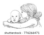 sketch of 5 year old girl... | Shutterstock .eps vector #776266471