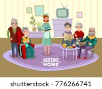 nursing old people home with... | Shutterstock . vector #776266741