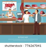 butcher shop with retro scales... | Shutterstock . vector #776267041