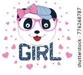 portrait cute panda in cap.... | Shutterstock .eps vector #776268787