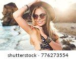 closeup portrait of attractive... | Shutterstock . vector #776273554