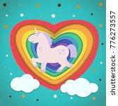 paper art. carved rainbow heart ... | Shutterstock .eps vector #776273557