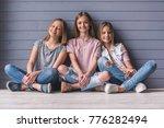 three attractive teenage girls...   Shutterstock . vector #776282494