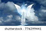 figure in white cloak stands on ... | Shutterstock . vector #776299441